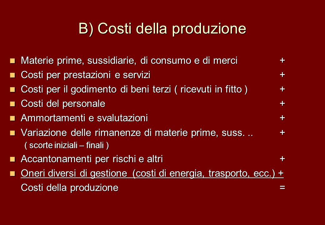 B) Costi della produzione Materie prime, sussidiarie, di consumo e di merci+ Materie prime, sussidiarie, di consumo e di merci+ Costi per prestazioni