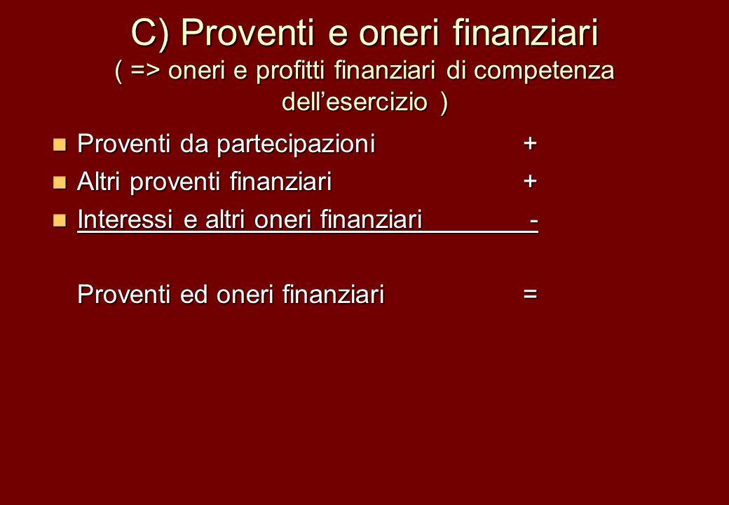 C) Proventi e oneri finanziari ( => oneri e profitti finanziari di competenza dellesercizio ) Proventi da partecipazioni + Proventi da partecipazioni