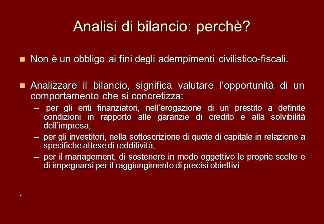 Analisi di bilancio: perchè? Non è un obbligo ai fini degli adempimenti civilistico-fiscali. Non è un obbligo ai fini degli adempimenti civilistico-fi