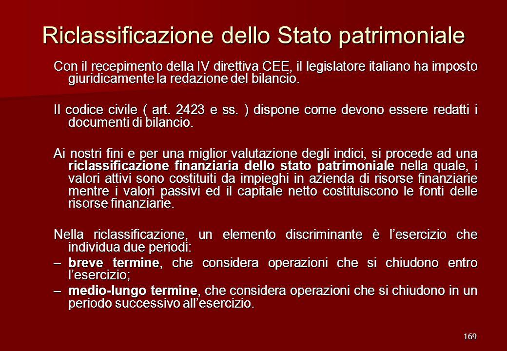 169 Riclassificazione dello Stato patrimoniale Con il recepimento della IV direttiva CEE, il legislatore italiano ha imposto giuridicamente la redazio