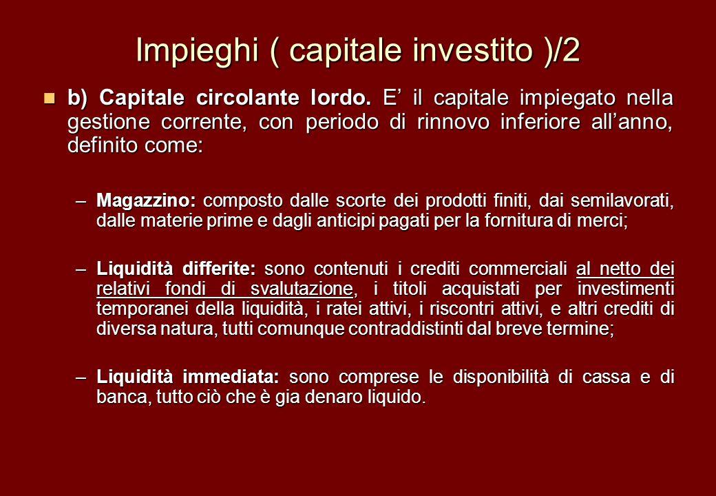 Impieghi ( capitale investito )/2 b) Capitale circolante lordo. E il capitale impiegato nella gestione corrente, con periodo di rinnovo inferiore alla
