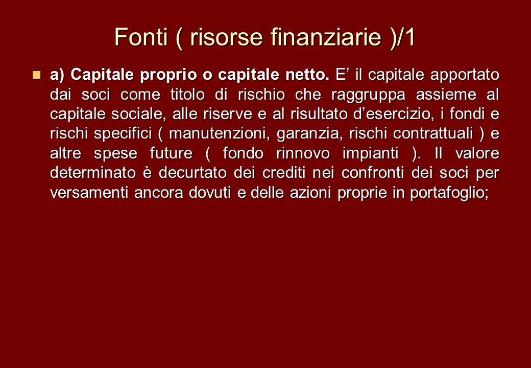 Fonti ( risorse finanziarie )/1 a) Capitale proprio o capitale netto. E il capitale apportato dai soci come titolo di rischio che raggruppa assieme al