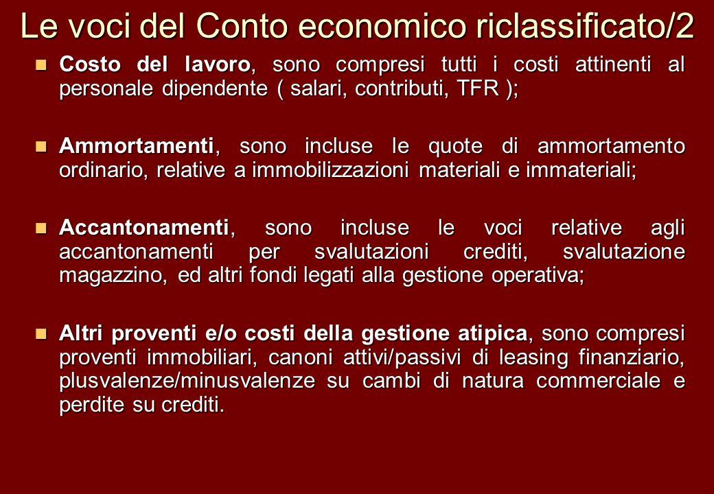 Le voci del Conto economico riclassificato/2 Costo del lavoro, sono compresi tutti i costi attinenti al personale dipendente ( salari, contributi, TFR