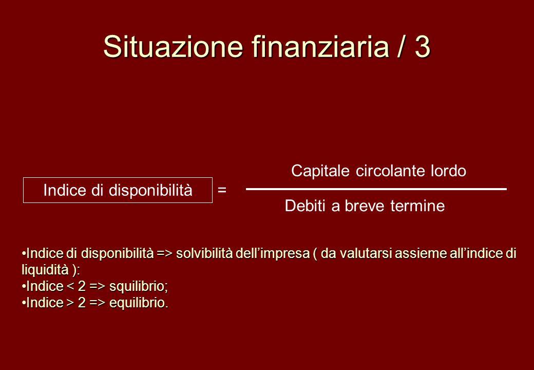 Situazione finanziaria / 3 Capitale circolante lordo Debiti a breve termine Indice di disponibilità = Indice di disponibilità => solvibilità dellimpre