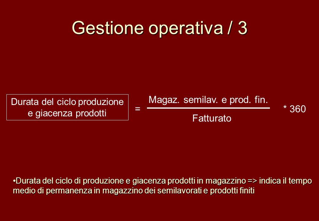 Gestione operativa / 3 Magaz. semilav. e prod. fin. Fatturato Durata del ciclo produzione e giacenza prodotti =* 360 Durata del ciclo di produzione e