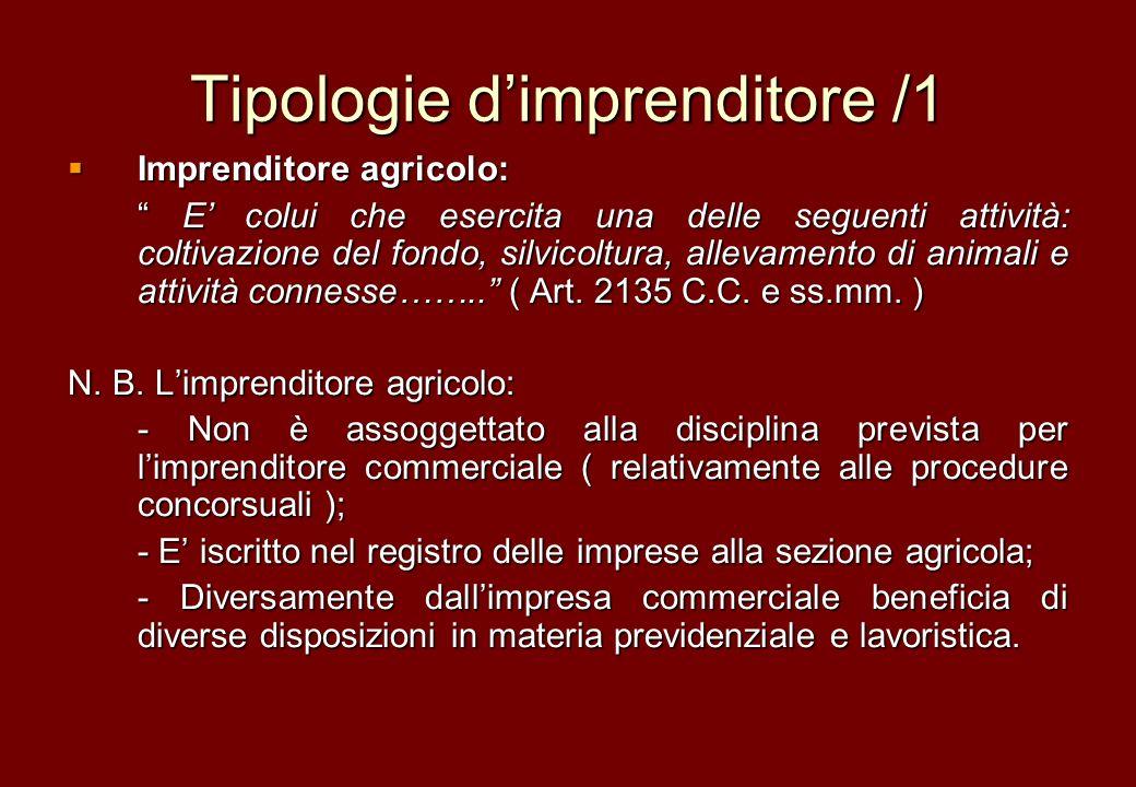 Tipologie dimprenditore /1 Imprenditore agricolo: Imprenditore agricolo: E colui che esercita una delle seguenti attività: coltivazione del fondo, sil