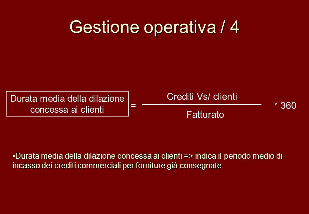 Gestione operativa / 4 Crediti Vs/ clienti Fatturato Durata media della dilazione concessa ai clienti =* 360 Durata media della dilazione concessa ai