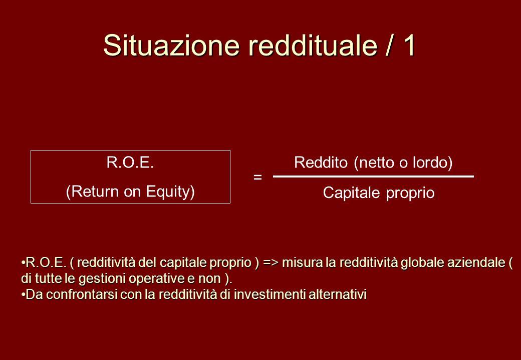 Situazione reddituale / 1 R.O.E. (Return on Equity) Reddito (netto o lordo) Capitale proprio = R.O.E. ( redditività del capitale proprio ) => misura l