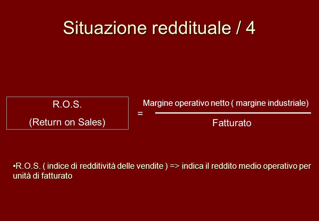 Situazione reddituale / 4 R.O.S. (Return on Sales) Margine operativo netto ( margine industriale) Fatturato = R.O.S. ( indice di redditività delle ven