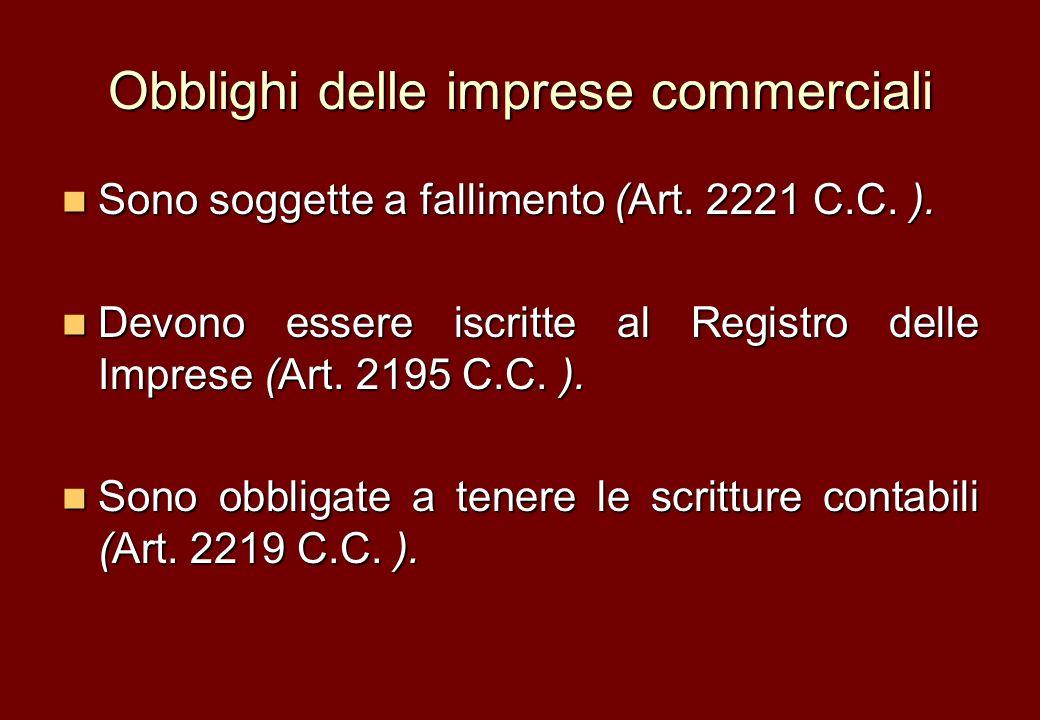 Obblighi delle imprese commerciali Sono soggette a fallimento (Art. 2221 C.C. ). Sono soggette a fallimento (Art. 2221 C.C. ). Devono essere iscritte