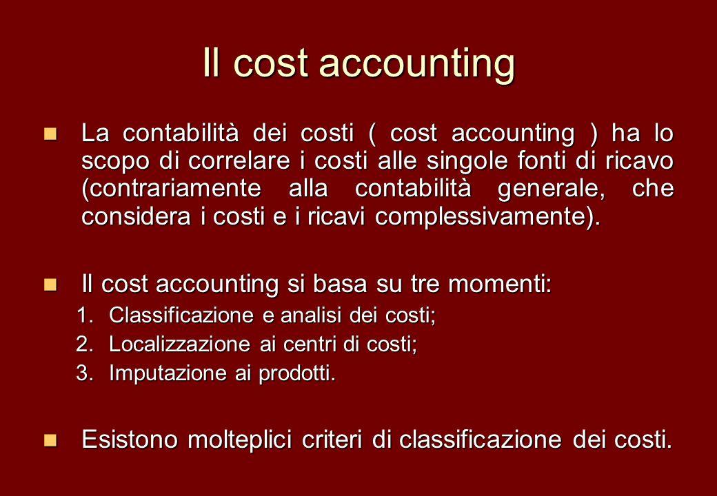 Il cost accounting La contabilità dei costi ( cost accounting ) ha lo scopo di correlare i costi alle singole fonti di ricavo (contrariamente alla con