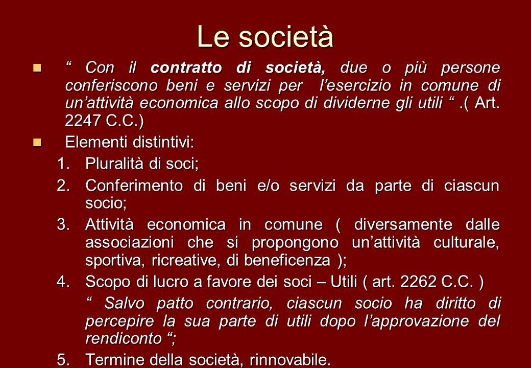 Le società Con il contratto di società, due o più persone conferiscono beni e servizi per lesercizio in comune di unattività economica allo scopo di d