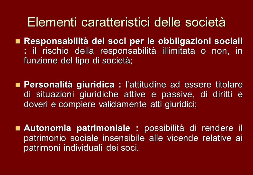 Elementi caratteristici delle società Responsabilità dei soci per le obbligazioni sociali : il rischio della responsabilità illimitata o non, in funzi