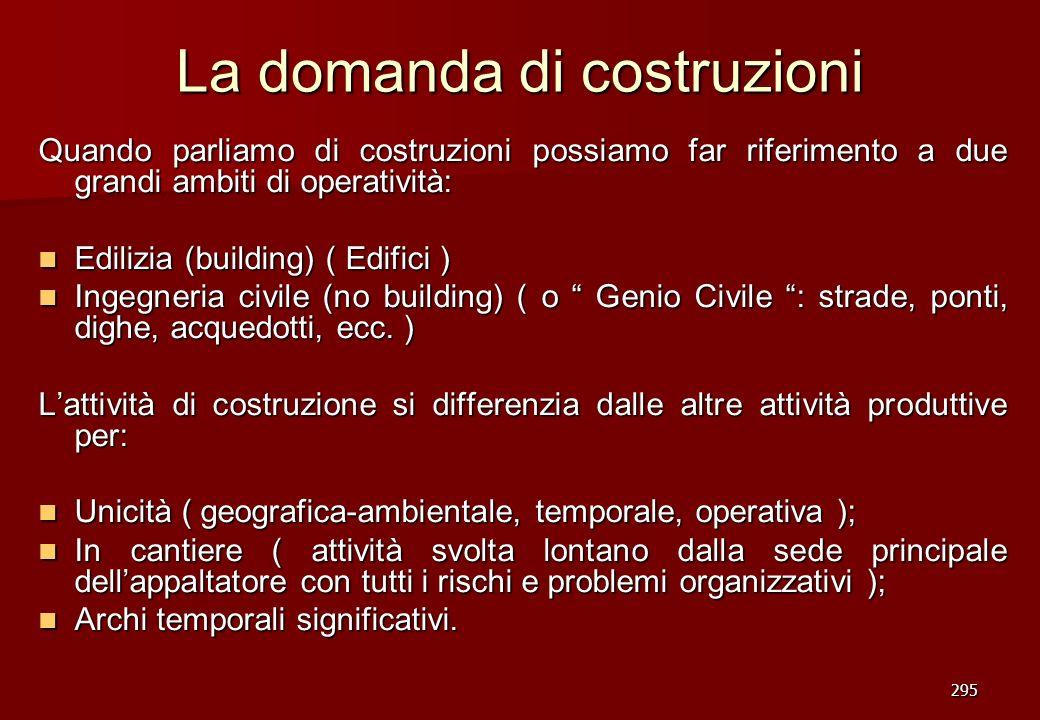 295 La domanda di costruzioni Quando parliamo di costruzioni possiamo far riferimento a due grandi ambiti di operatività: Edilizia (building) ( Edific