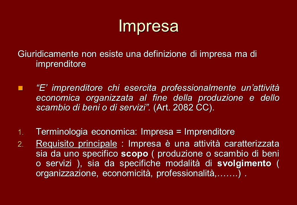 Impresa Giuridicamente non esiste una definizione di impresa ma di imprenditore E imprenditore chi esercita professionalmente unattività economica org