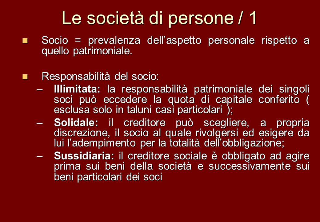 Le società di persone / 1 Socio = prevalenza dellaspetto personale rispetto a quello patrimoniale. Socio = prevalenza dellaspetto personale rispetto a