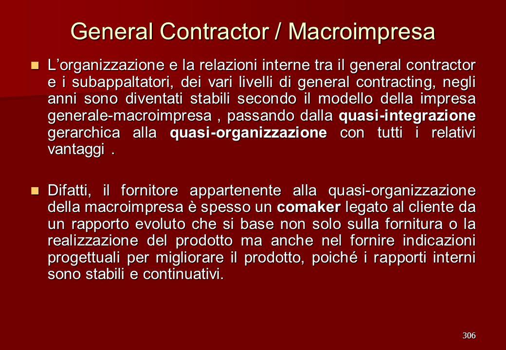 306 General Contractor / Macroimpresa Lorganizzazione e la relazioni interne tra il general contractor e i subappaltatori, dei vari livelli di general