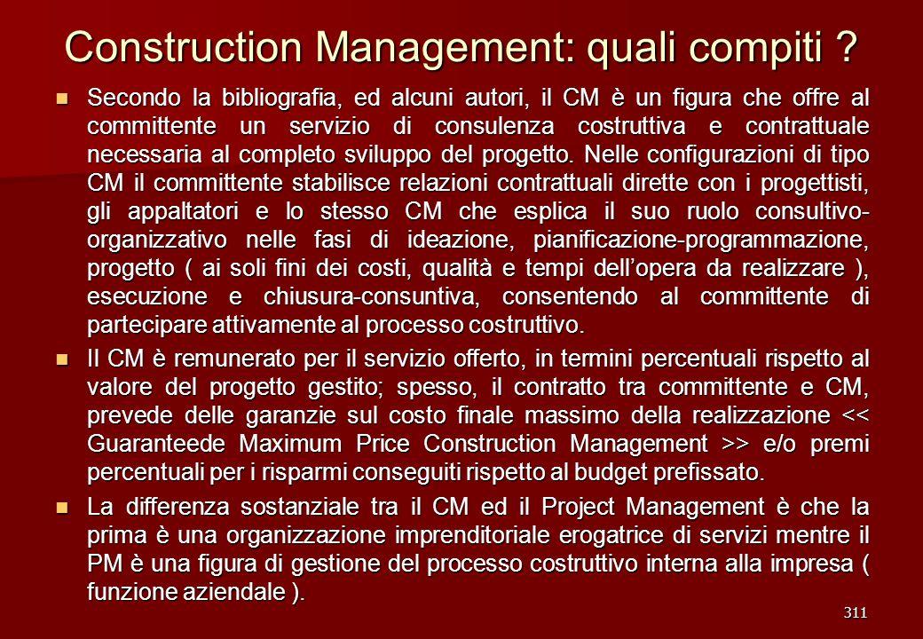 311 Construction Management: quali compiti ? Secondo la bibliografia, ed alcuni autori, il CM è un figura che offre al committente un servizio di cons