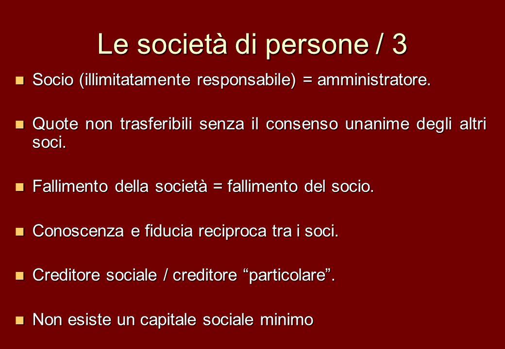 Le società di persone / 3 Socio (illimitatamente responsabile) = amministratore. Socio (illimitatamente responsabile) = amministratore. Quote non tras