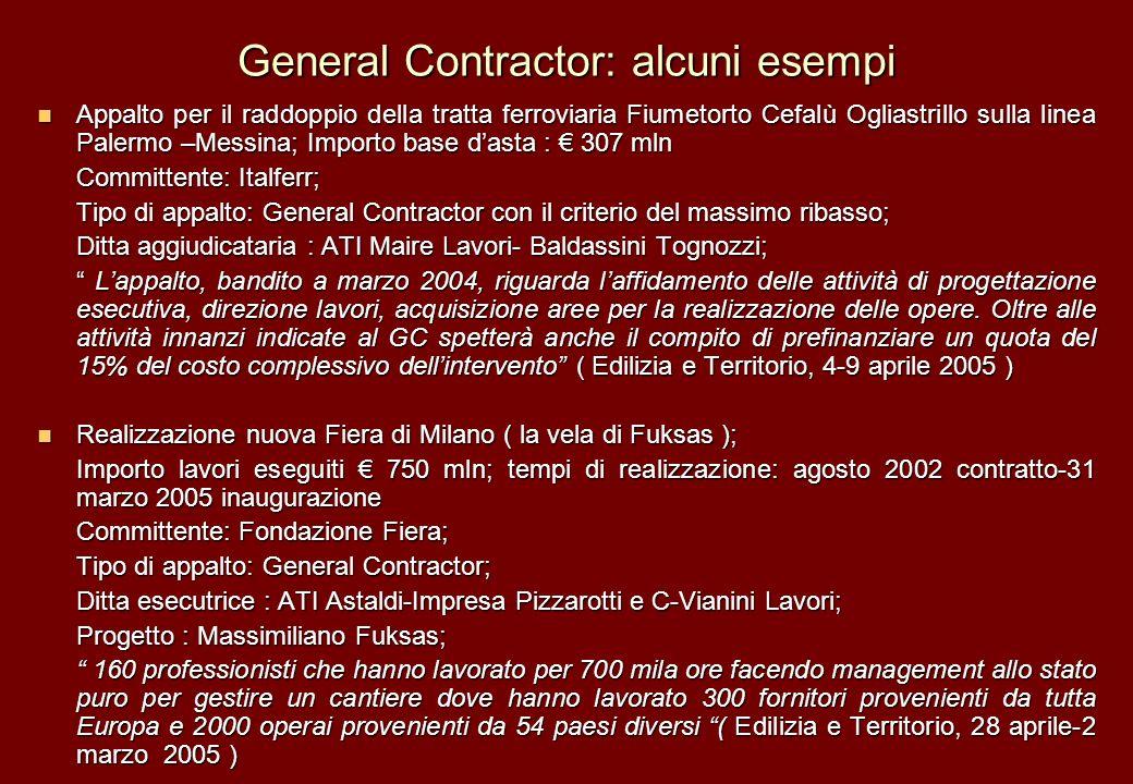 General Contractor: alcuni esempi Appalto per il raddoppio della tratta ferroviaria Fiumetorto Cefalù Ogliastrillo sulla linea Palermo –Messina; Impor