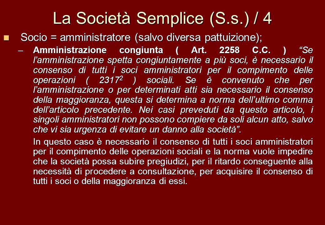 La Società Semplice (S.s.) / 4 Socio = amministratore (salvo diversa pattuizione); Socio = amministratore (salvo diversa pattuizione); –Amministrazion