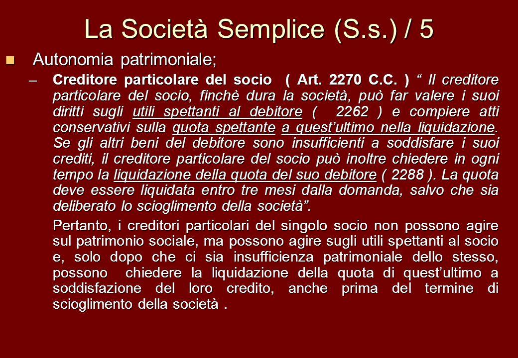 La Società Semplice (S.s.) / 5 Autonomia patrimoniale; Autonomia patrimoniale; –Creditore particolare del socio ( Art. 2270 C.C. ) Il creditore partic