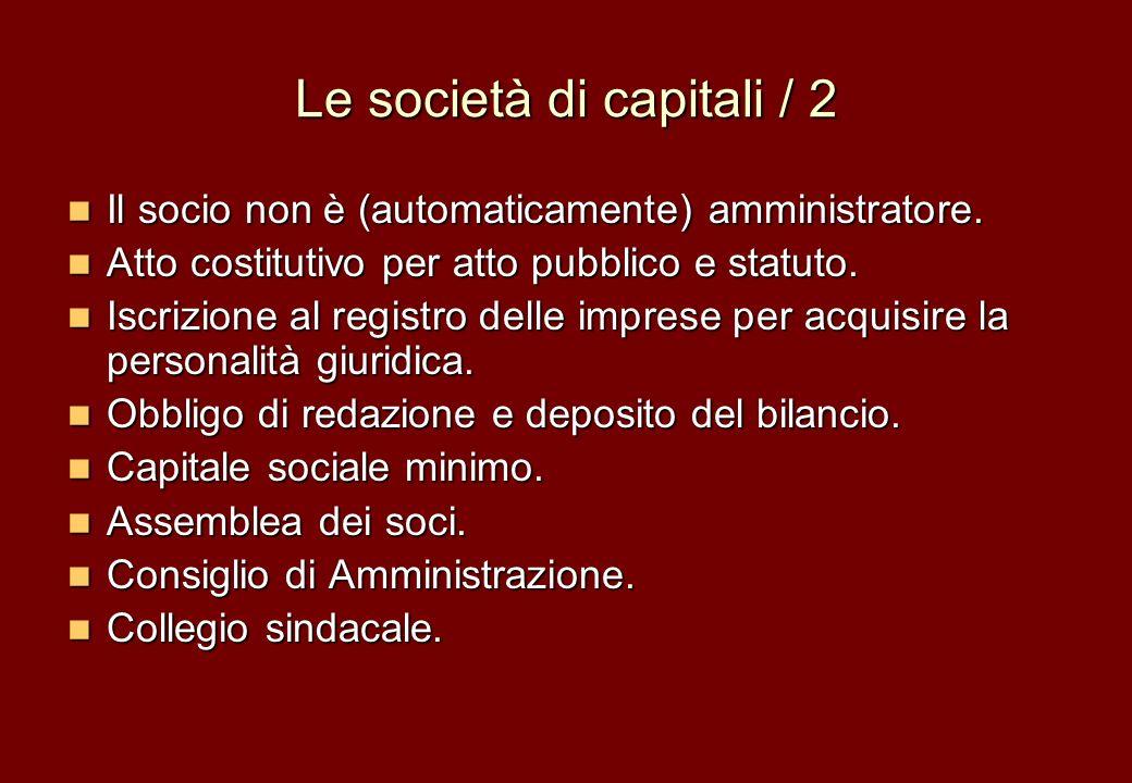 Le società di capitali / 2 Il socio non è (automaticamente) amministratore. Il socio non è (automaticamente) amministratore. Atto costitutivo per atto