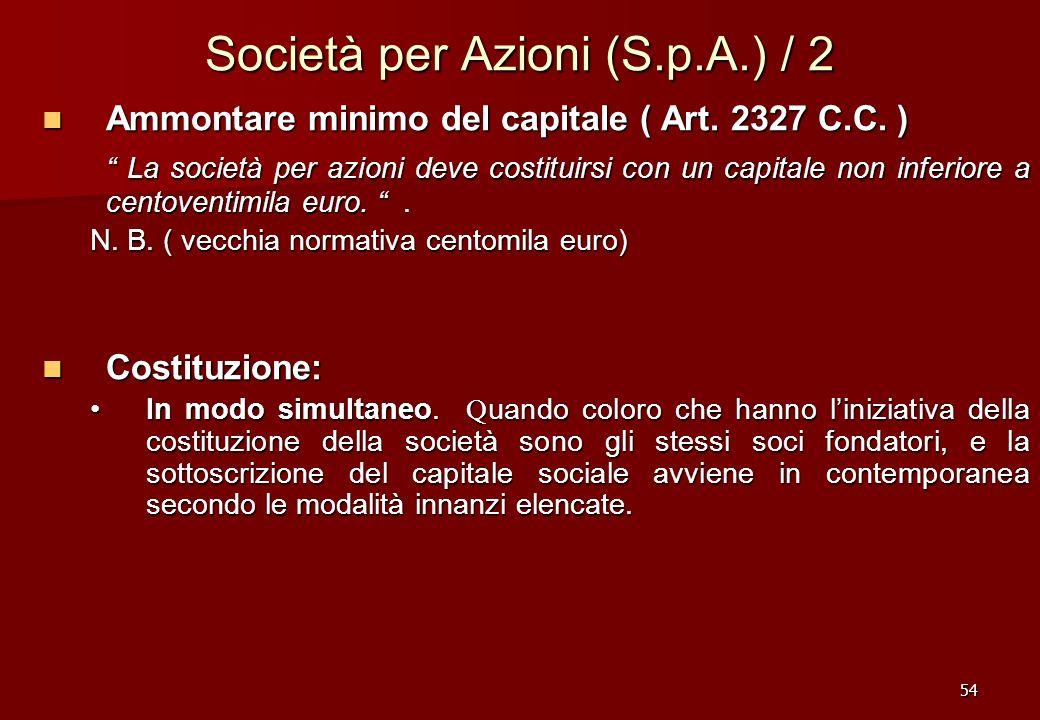 54 Società per Azioni (S.p.A.) / 2 Ammontare minimo del capitale ( Art. 2327 C.C. ) Ammontare minimo del capitale ( Art. 2327 C.C. ) La società per az