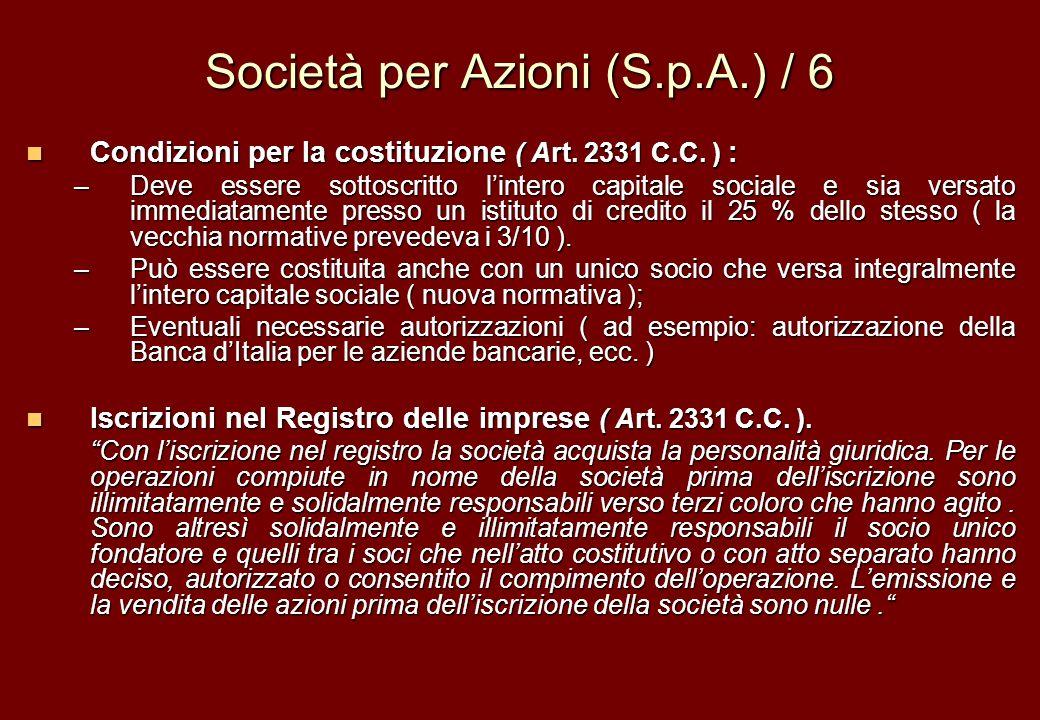 Società per Azioni (S.p.A.) / 6 Condizioni per la costituzione ( Art. 2331 C.C. ) : Condizioni per la costituzione ( Art. 2331 C.C. ) : –Deve essere s