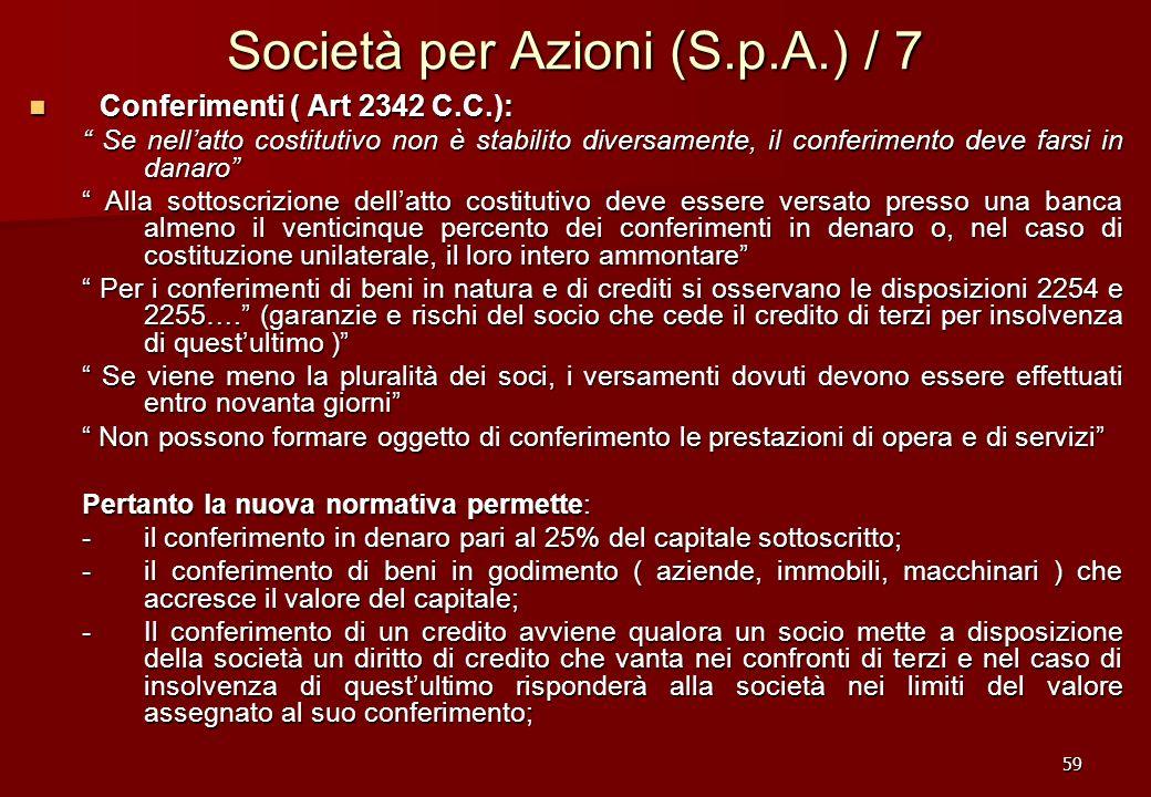 59 Società per Azioni (S.p.A.) / 7 Conferimenti ( Art 2342 C.C.): Conferimenti ( Art 2342 C.C.): Se nellatto costitutivo non è stabilito diversamente,