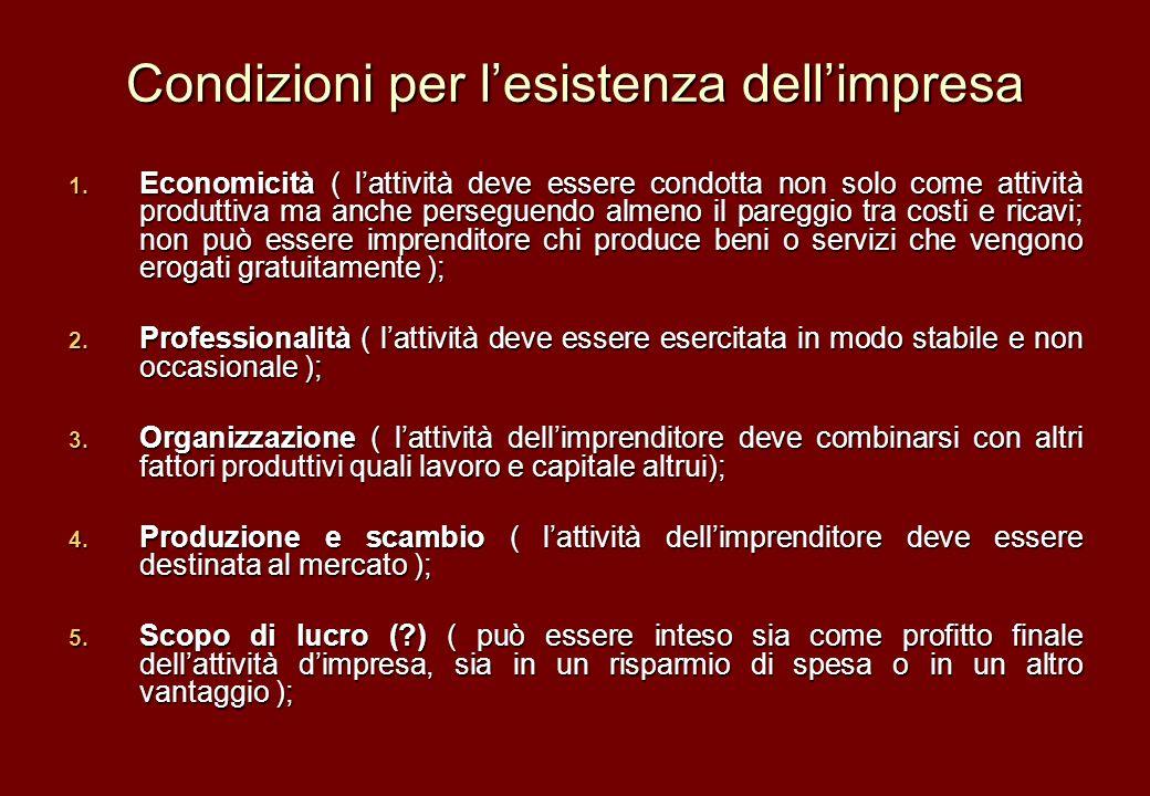 Condizioni per lesistenza dellimpresa 1. Economicità ( lattività deve essere condotta non solo come attività produttiva ma anche perseguendo almeno il