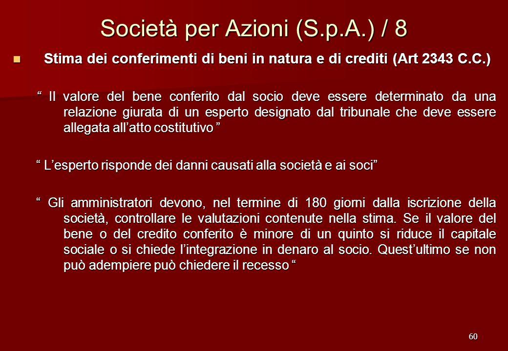 60 Società per Azioni (S.p.A.) / 8 Stima dei conferimenti di beni in natura e di crediti (Art 2343 C.C.) Stima dei conferimenti di beni in natura e di