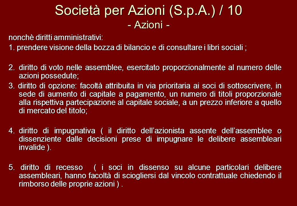 Società per Azioni (S.p.A.) / 10 - Azioni - nonchè diritti amministrativi: 1. prendere visione della bozza di bilancio e di consultare i libri sociali