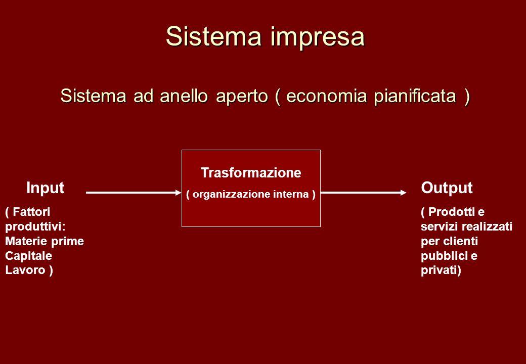 Sistema impresa Sistema ad anello aperto ( economia pianificata ) Progetto Trasformazione ( organizzazione interna ) Input ( Fattori produttivi: Mater