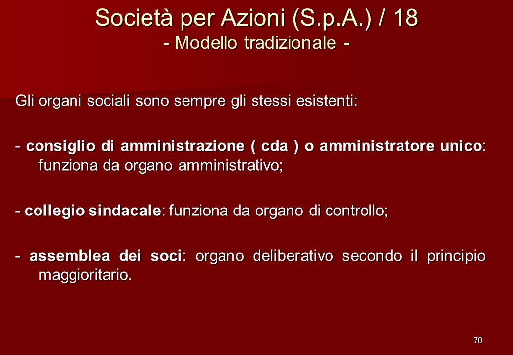 70 Società per Azioni (S.p.A.) / 18 - Modello tradizionale - Gli organi sociali sono sempre gli stessi esistenti: - consiglio di amministrazione ( cda