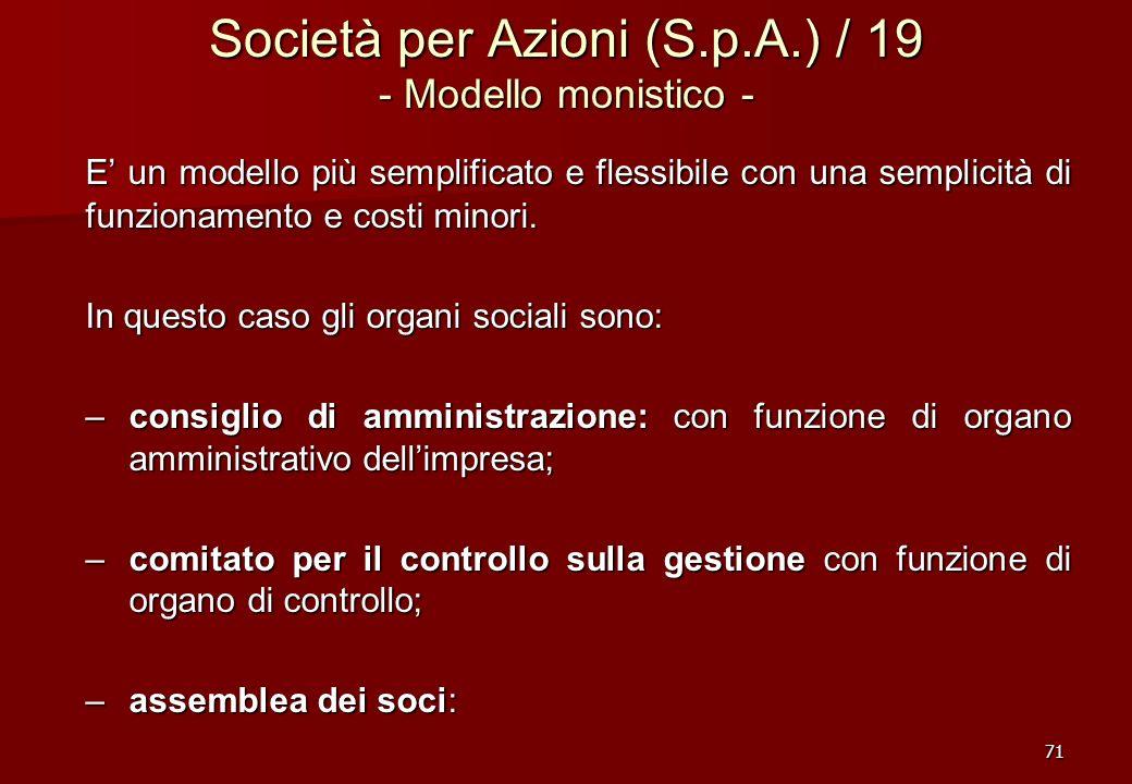 71 Società per Azioni (S.p.A.) / 19 - Modello monistico - E un modello più semplificato e flessibile con una semplicità di funzionamento e costi minor