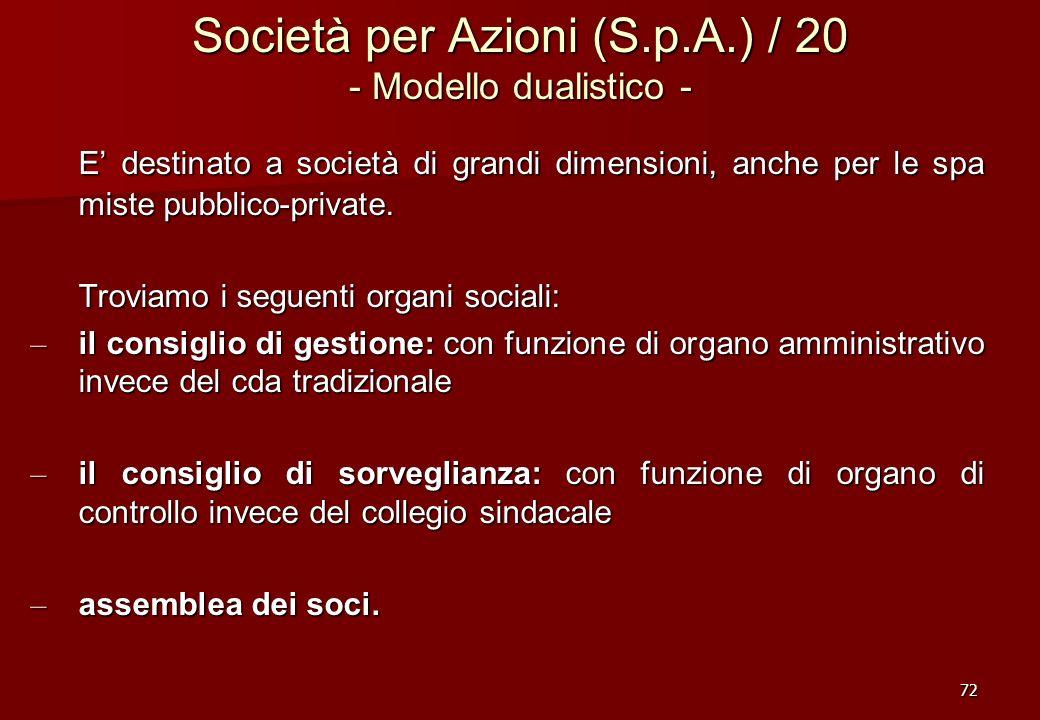 72 Società per Azioni (S.p.A.) / 20 - Modello dualistico - E destinato a società di grandi dimensioni, anche per le spa miste pubblico-private. Trovia