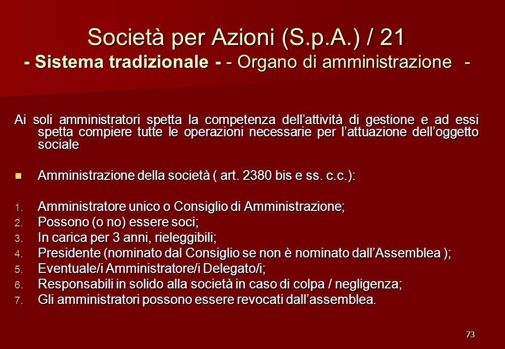 73 Società per Azioni (S.p.A.) / 21 - Sistema tradizionale - - Organo di amministrazione - Ai soli amministratori spetta la competenza dellattività di