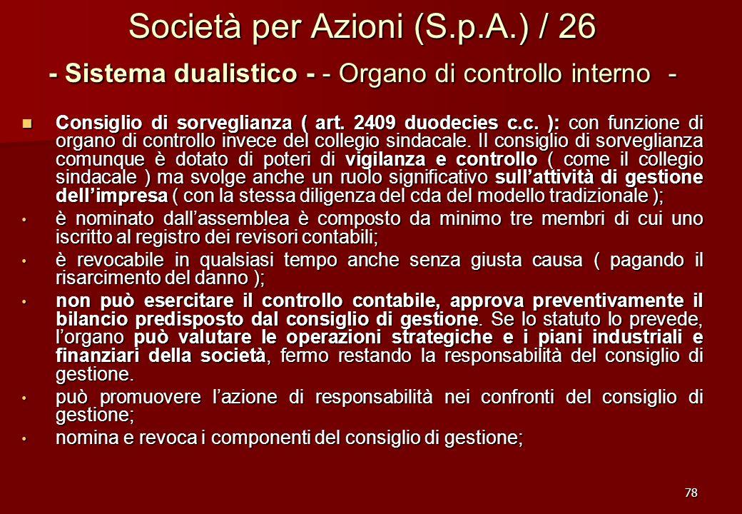 78 Società per Azioni (S.p.A.) / 26 - Sistema dualistico - - Organo di controllo interno - Consiglio di sorveglianza ( art. 2409 duodecies c.c. ): con