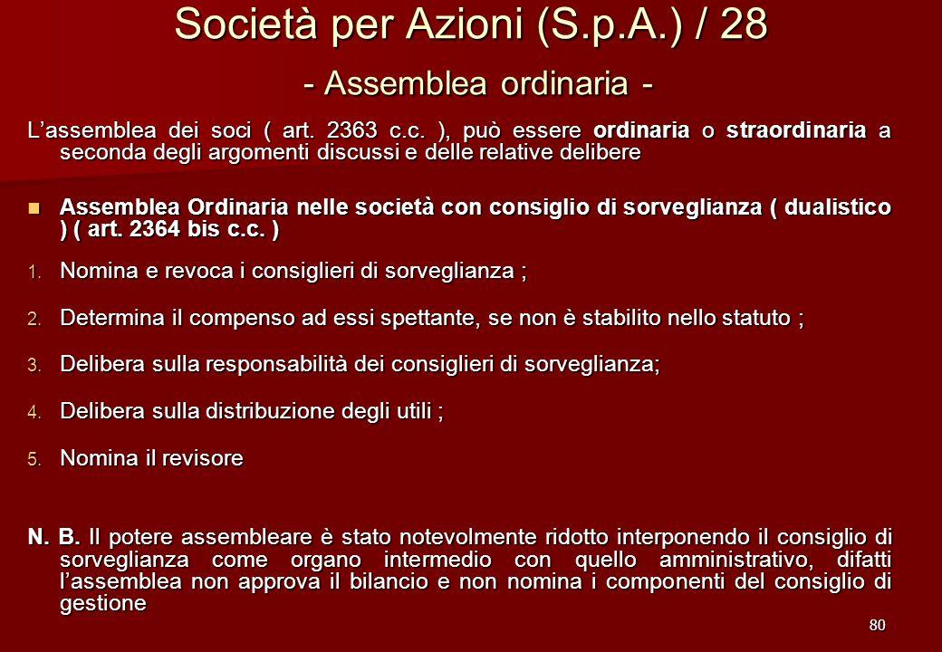 80 Società per Azioni (S.p.A.) / 28 - Assemblea ordinaria - Lassemblea dei soci ( art. 2363 c.c. ), può essere ordinaria o straordinaria a seconda deg