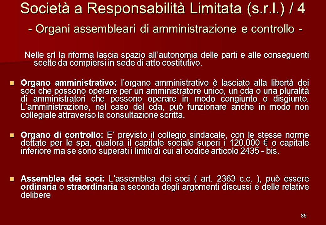 86 Società a Responsabilità Limitata (s.r.l.) / 4 - Organi assembleari di amministrazione e controllo - Nelle srl la riforma lascia spazio allautonomi