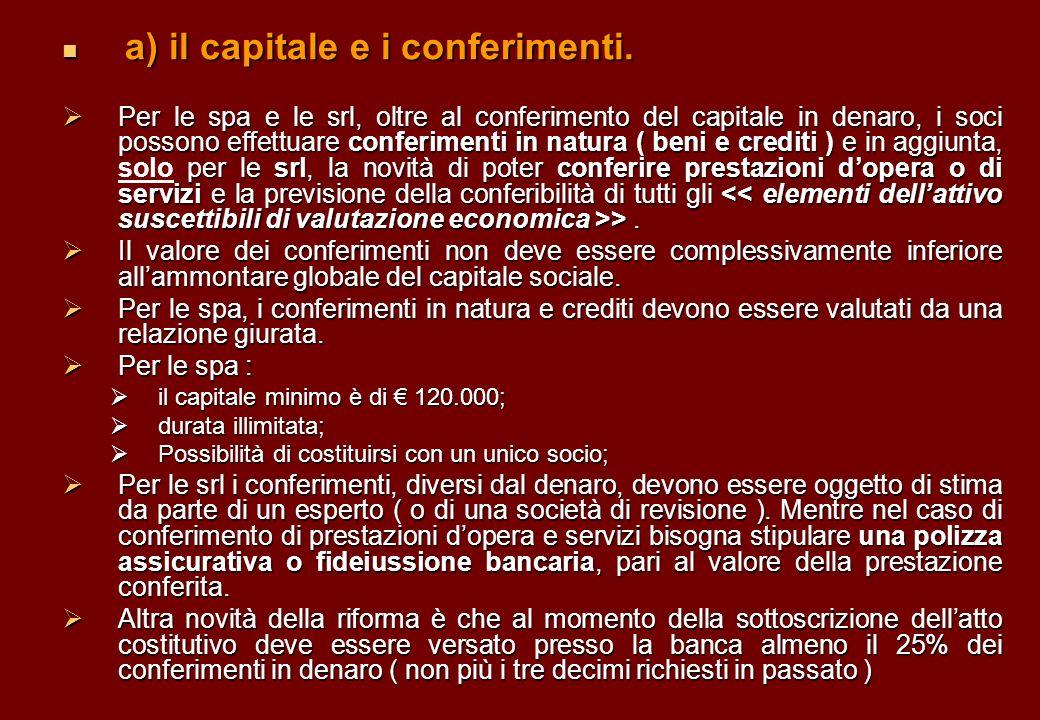 a) il capitale e i conferimenti. a) il capitale e i conferimenti. Per le spa e le srl, oltre al conferimento del capitale in denaro, i soci possono ef