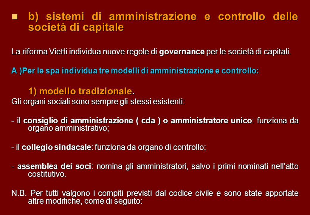 b) sistemi di amministrazione e controllo delle società di capitale b) sistemi di amministrazione e controllo delle società di capitale La riforma Vie