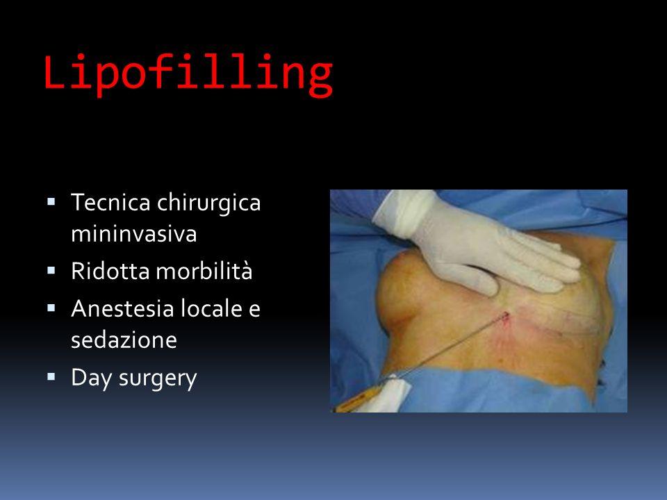 Lipofilling Tecnica chirurgica mininvasiva Ridotta morbilità Anestesia locale e sedazione Day surgery