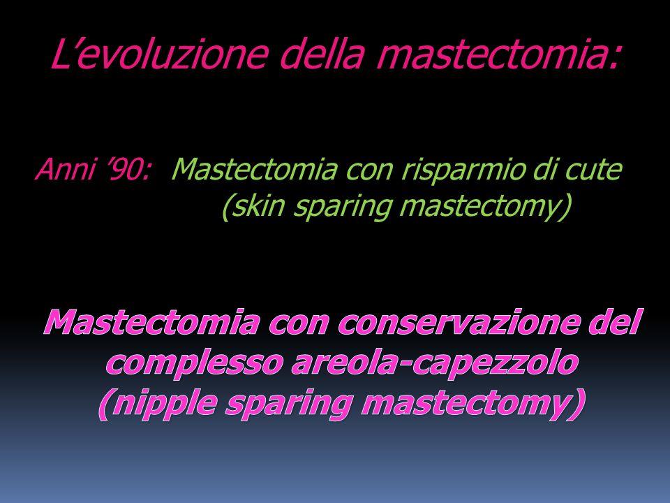 Levoluzione della mastectomia: Anni 90: Mastectomia con risparmio di cute (skin sparing mastectomy)
