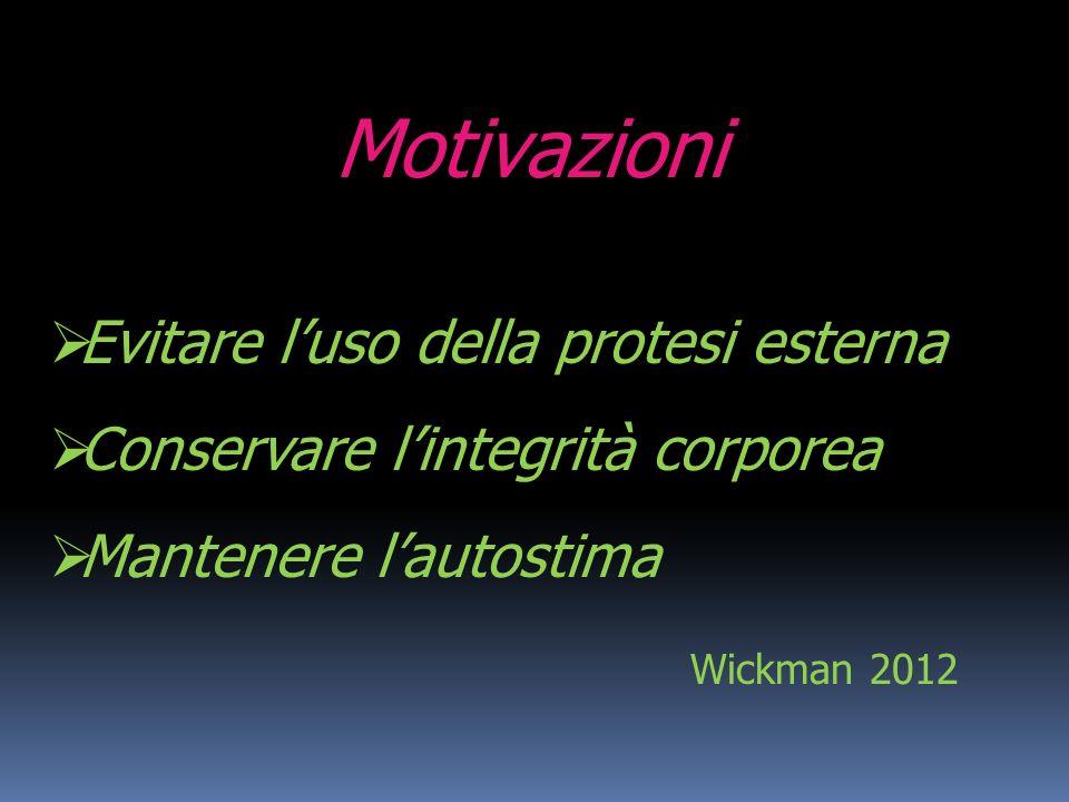 Motivazioni Evitare luso della protesi esterna Conservare lintegrità corporea Mantenere lautostima Wickman 2012