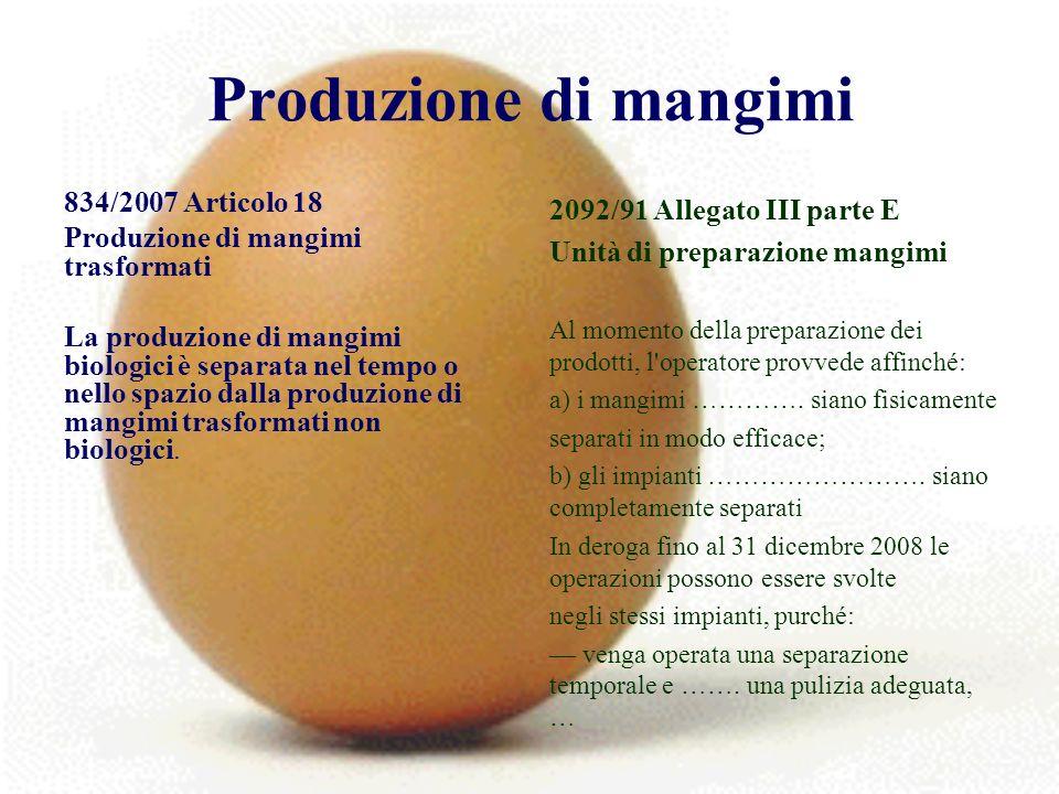 Produzione di mangimi 834/2007 Articolo 18 Produzione di mangimi trasformati La produzione di mangimi biologici è separata nel tempo o nello spazio dalla produzione di mangimi trasformati non biologici.
