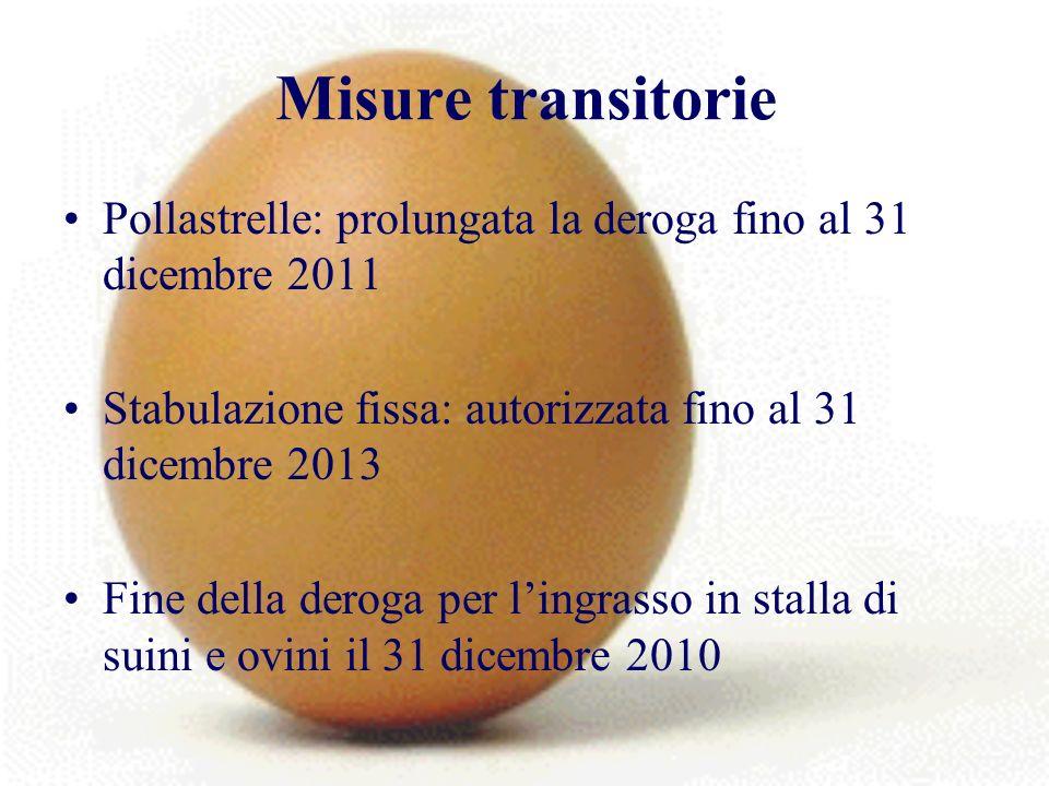 Misure transitorie Pollastrelle: prolungata la deroga fino al 31 dicembre 2011 Stabulazione fissa: autorizzata fino al 31 dicembre 2013 Fine della deroga per lingrasso in stalla di suini e ovini il 31 dicembre 2010