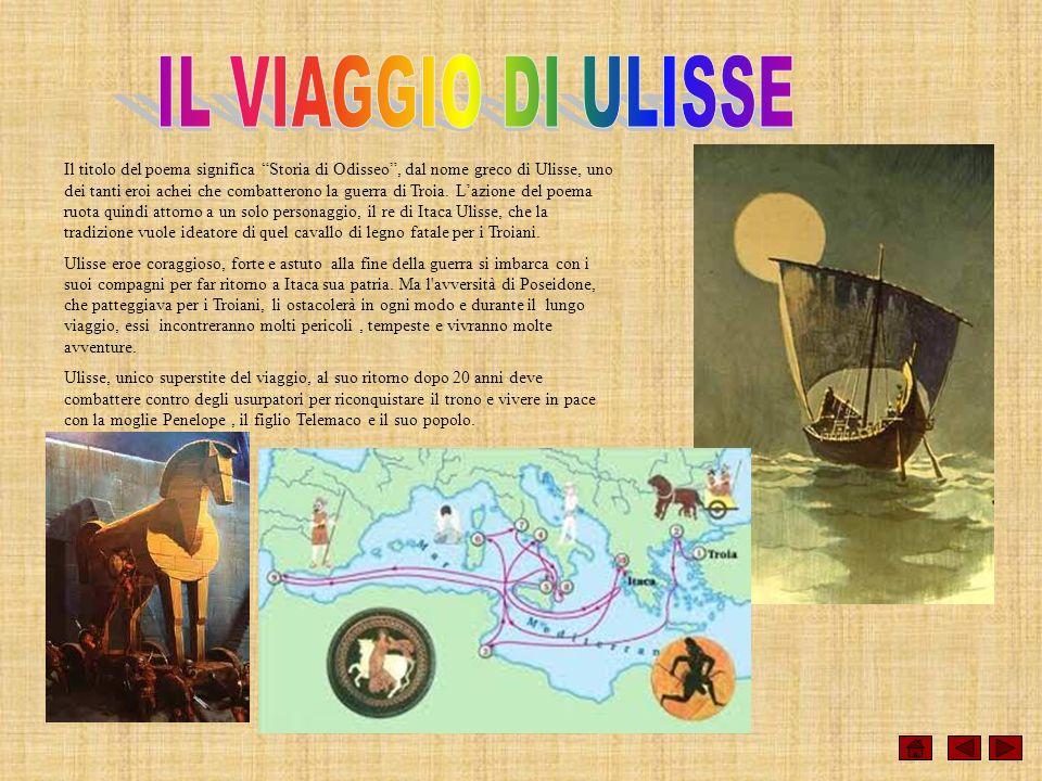 Il titolo del poema significa Storia di Odisseo, dal nome greco di Ulisse, uno dei tanti eroi achei che combatterono la guerra di Troia. Lazione del p