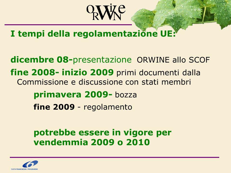 I tempi della regolamentazione UE: dicembre 08-presentazione ORWINE allo SCOF fine 2008- inizio 2009 primi documenti dalla Commissione e discussione con stati membri primavera 2009- bozza fine 2009 - regolamento potrebbe essere in vigore per vendemmia 2009 o 2010